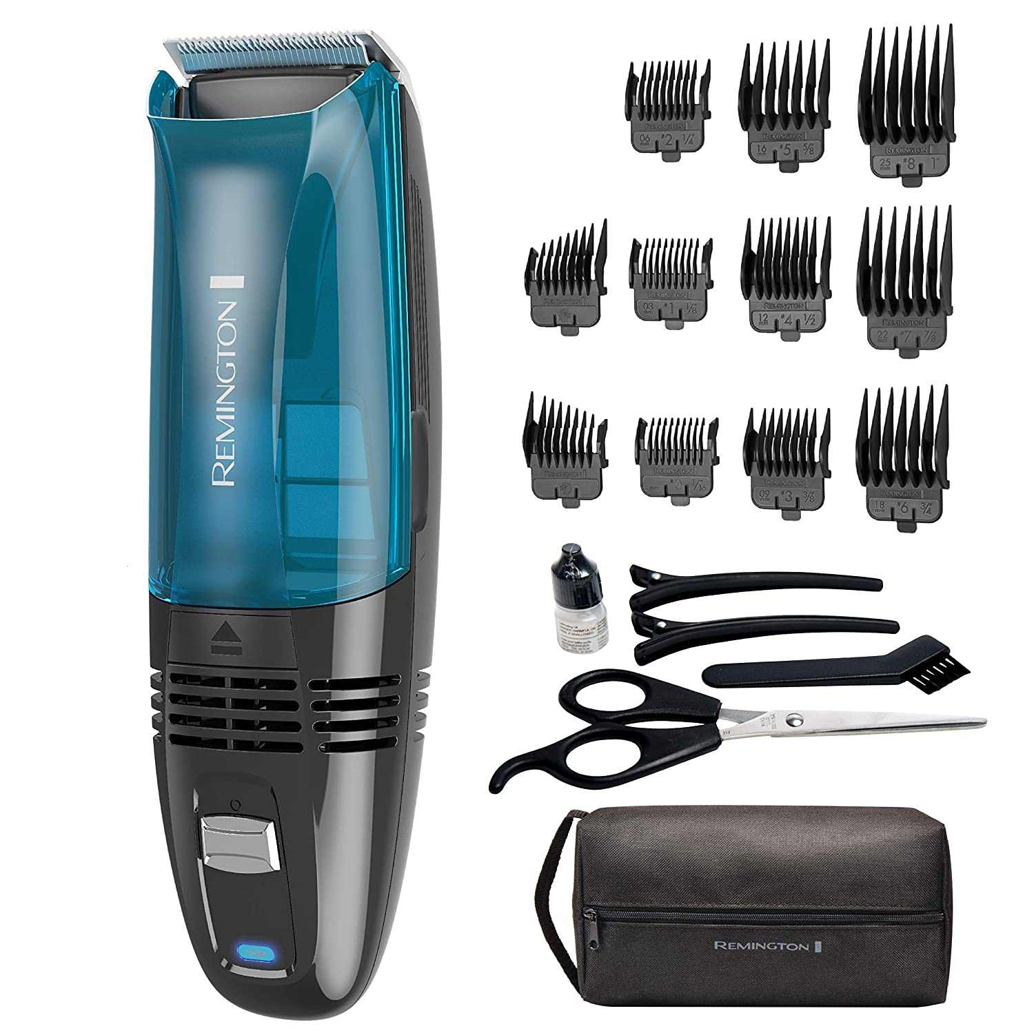 Remington Hc6550 Cordless Vacuum Haircut Kit, Vacuum Beard Trimmer, Hair Clippers for Men 18Piece