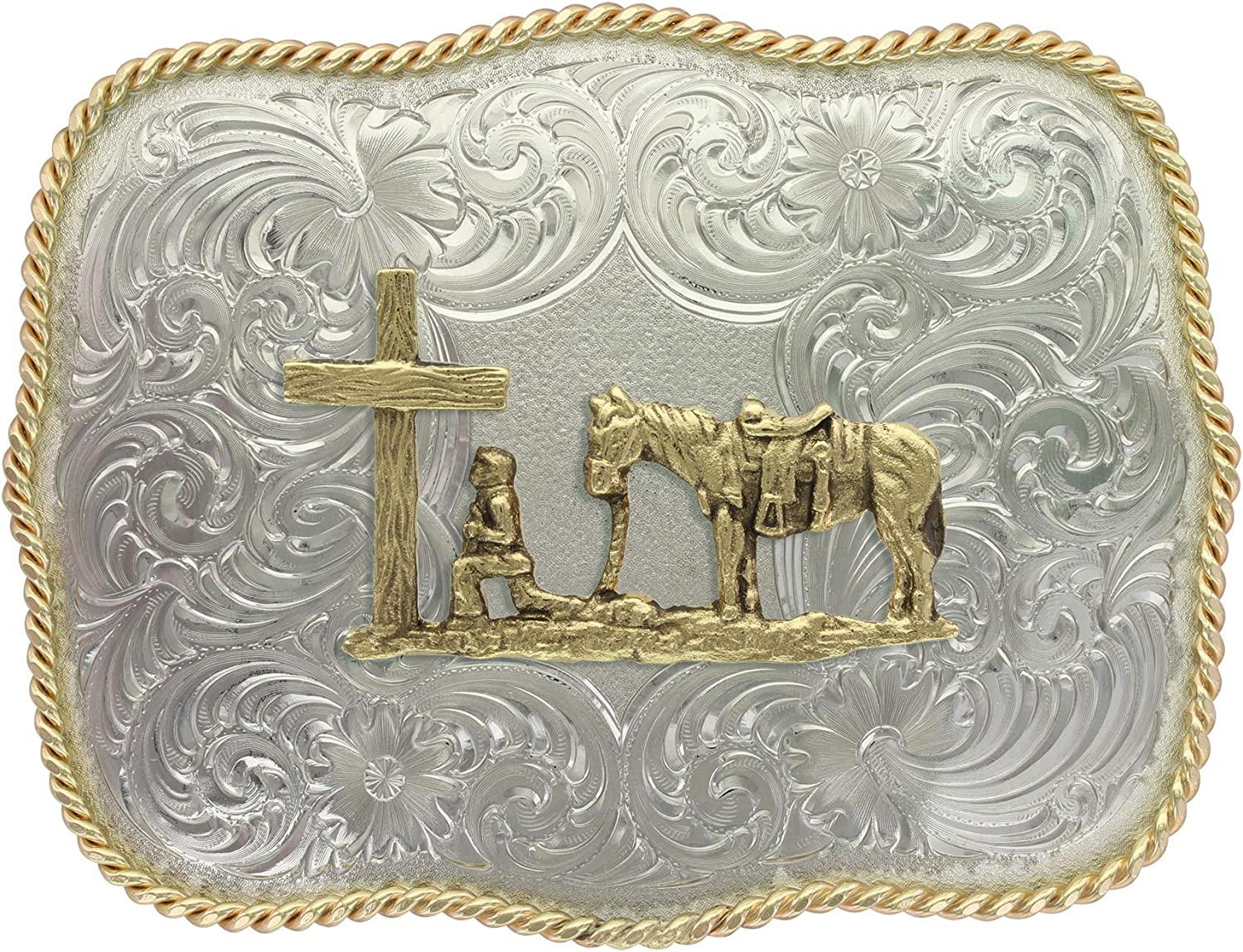 Montana Silversmiths Christian Faith Series Classic Western Buckle, Made In USA (Scallop Shaped - Christian Cowboy): Clothing