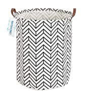 LANGYASHAN Storage Bin,Canvas Fabric Collapsible Organizer Basket for Laundry Hamper,Toy Bins,Gift Baskets, Bedroom, Clothes,Baby Nursery (Geometric)