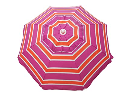 Heininger 1301 Beach Umbrella with Tilt and Travel Bag (Orange and Pink 7 Foot)