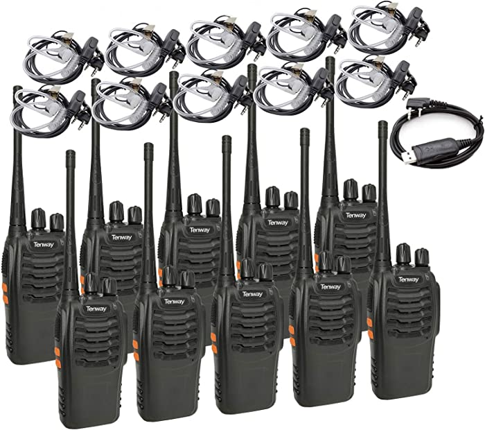 Tenway Two Way Radio 10 Pack Rechargeable Long Range 16 CH Walkie Talkie and Covert Air Acoustic Tube Earpiece and USB Programming Cable