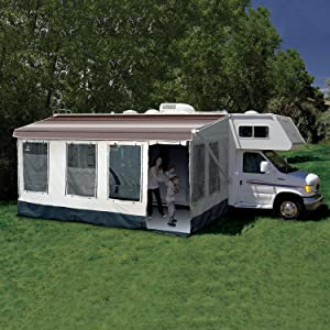 CAREFREE Buena Vista+ RV Awning Room Fits 16'-17' RV Awnings,Gray with Dark Gray Trim,211600A