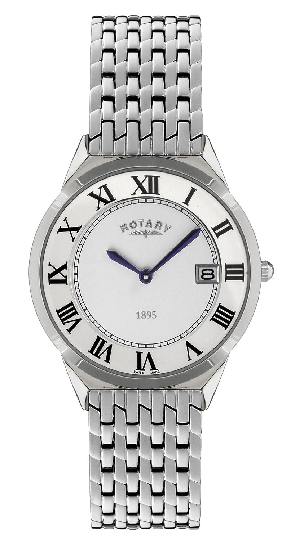 Rotary Ultraflach GB08000/21 - Reloj analógico de Cuarzo para Hombre, Correa de Acero Inoxidable