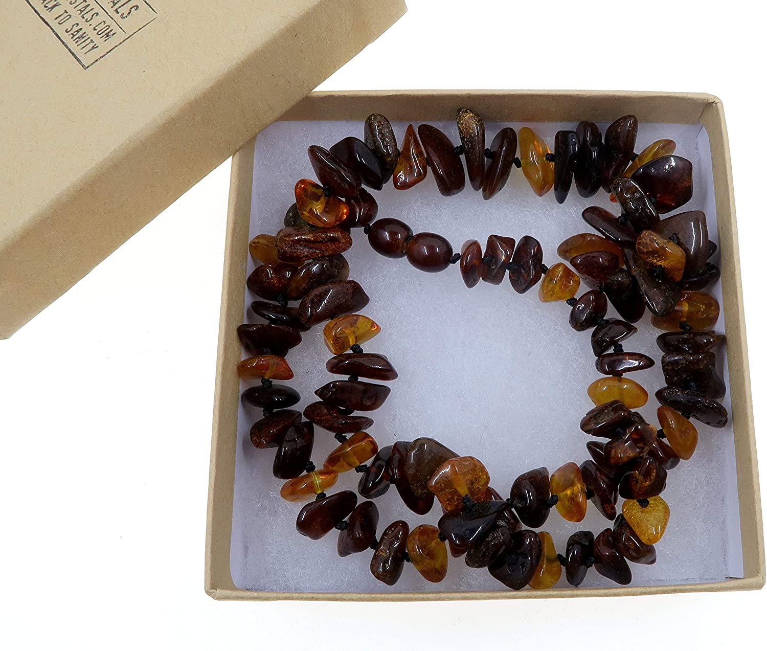 20 Amber Necklace Boutique Multi-Color Yellow Red Orange Black Knotted Genuine Baltic Gemstone B06