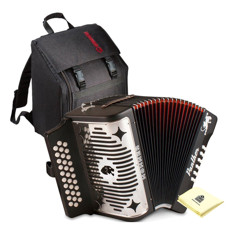 Hohner Panther G/C/F 3-Row Diatonic Accordion Bundle (Diatonic Accordion + Gig Bag + Zorro Polishing Cloth)