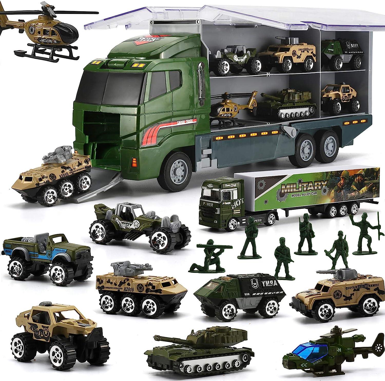 Juguetes para Niños, Coches de Juguetes Militares Fundidos a Presión con Camiones Helicópteros Jeep Soldados Tanques Vehículos Blindados, Juguetes Educativos para Escuelas Cumpleaños Navidad (26 PCS)
