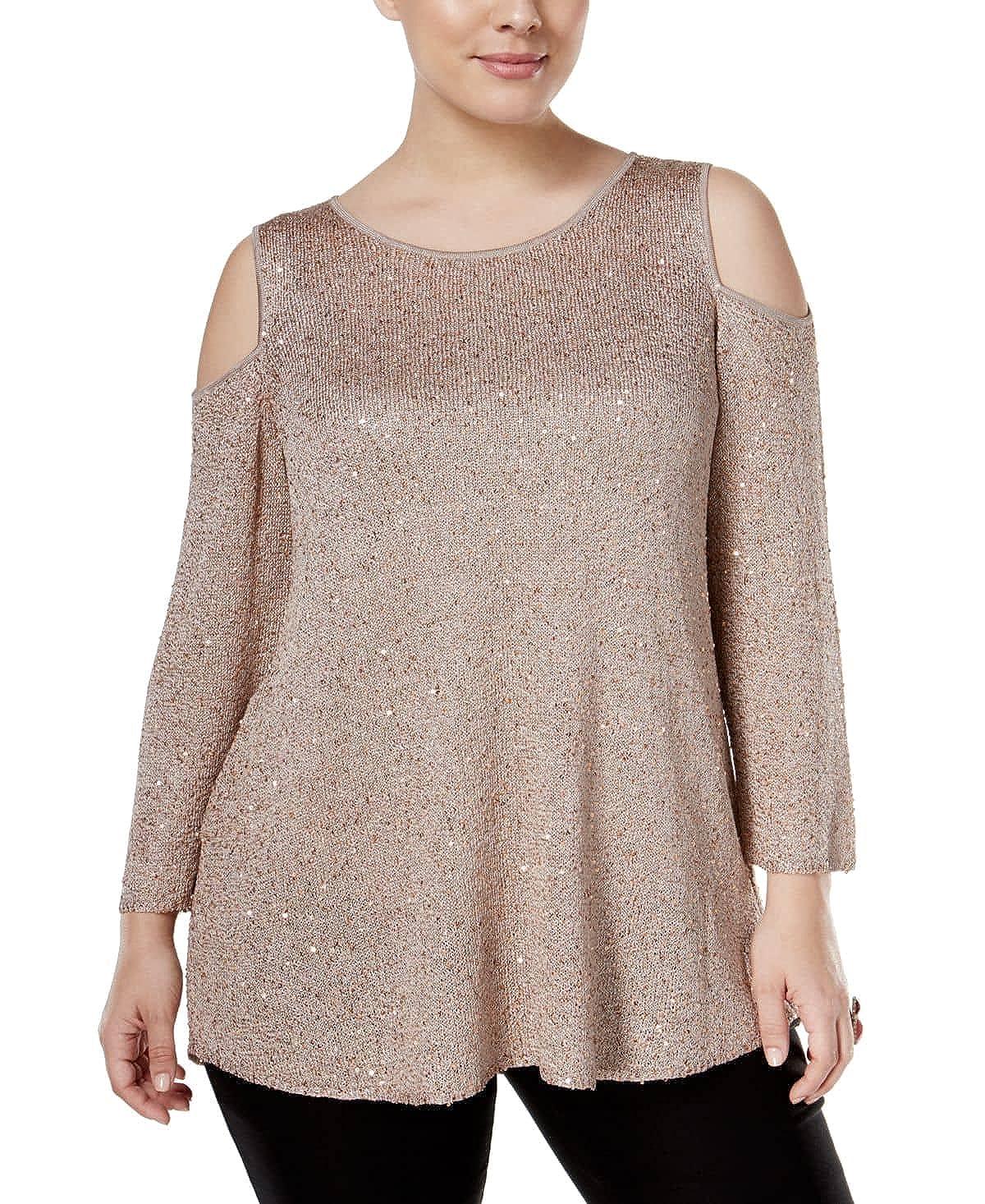 Alfani Womens Plus Metallic Sequined Pullover Top Beige 0X