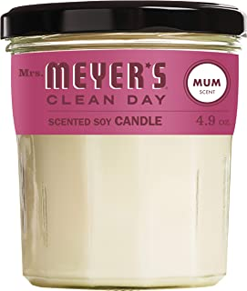 product image for Mrs. Meyer's Clean Day Scented Soy Aromatherapy Candle, 35 Hour Burn Time, Made with Soy Wax, Mum Scent, 4.9 oz