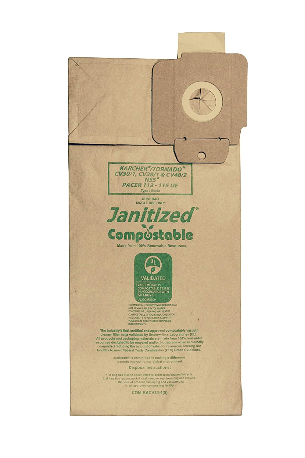 Janitized COM-KACV30-4(5) Compostable Paper Premium Replacement Commercial Vacuum Bag for Karcher/Tornado CV30/1 and CV38/1 & NSS Pacer 112 & 115 UE vacuums (Pack of 5)