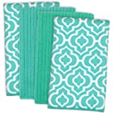 """DII Microfiber Multi-Purpose Cleaning Towels Perfect for Kitchens, Dishes, Car, Dusting, Drying Rags, 16 x 19"""", Set of 4 - Teal Lattice"""