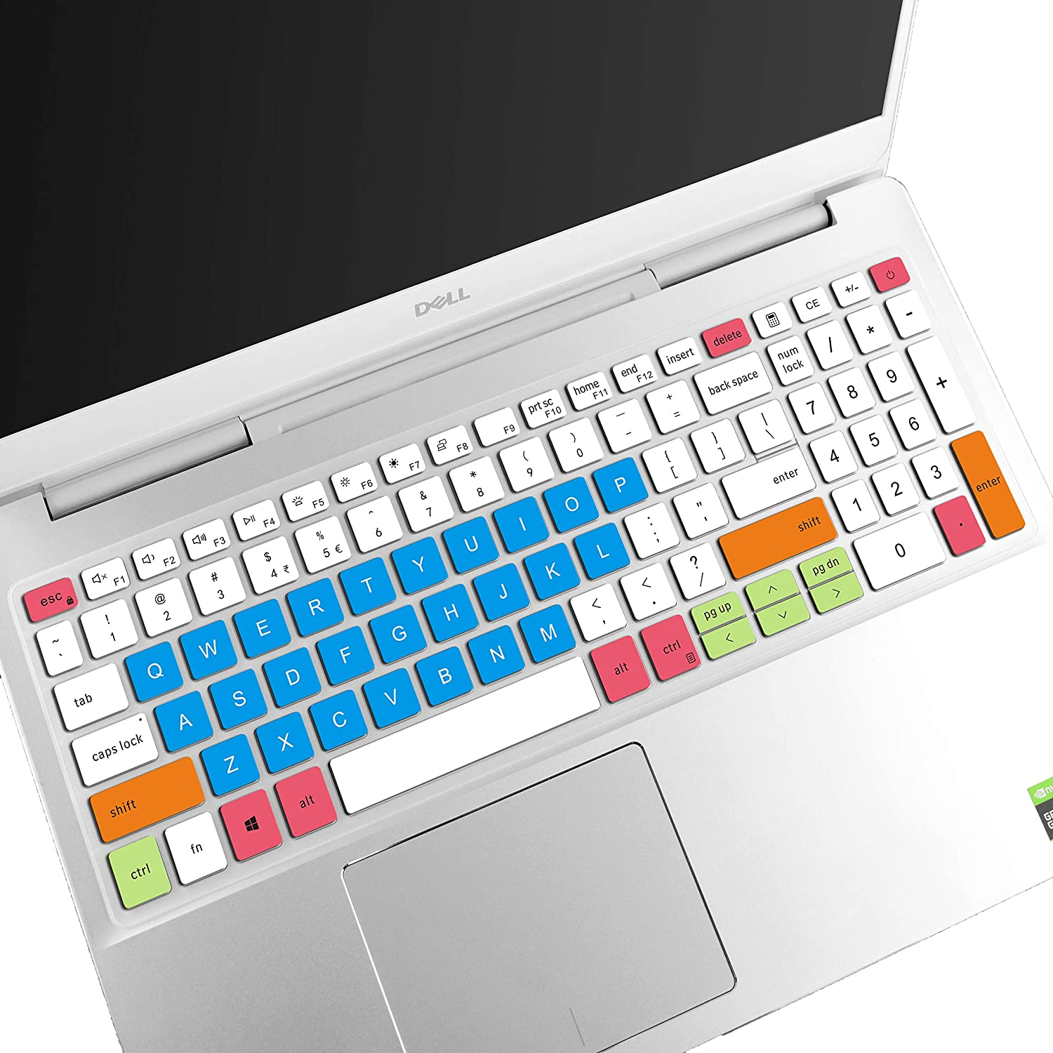 LEZE - Keyboard Cover Compatible with Dell Inspiron 15 7000 7590 7591 7500 7501, Inspiron 15 5000 5501 5508 5584 5590 5593 5598, Vostro 15 7590 7591 5590 7500 Laptop US Layout - White Blue