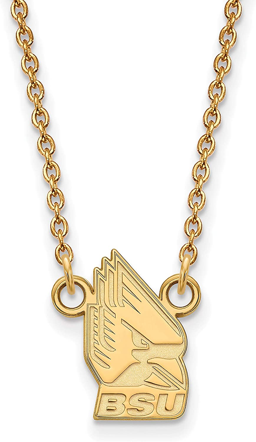 10k Yellow Gold Ball State University Cardinals Charlie Mascot Pendant Necklace 12x9mm 18 Inches