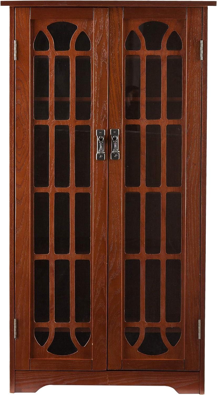 Window Pane Media Cabinet Oak