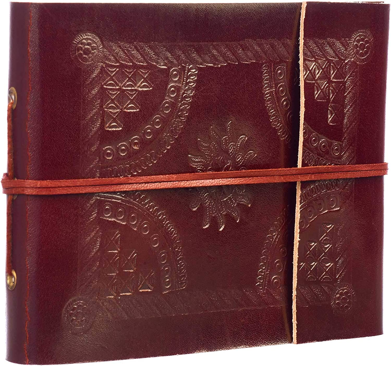 Álbum de fotos pequeño de cuero en relieve, 30 páginas para adaptarse a fotos de 150 x 14,5 cm, comercio justo y hecho a mano, álbumes de recortes y manualidades, álbum de fotos de 18 cm x 14,5 cm