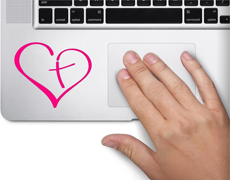 Heart with Cross Symbol Decal Funny Laptop Skin Macbook Trackpad Keypad Sticker Window
