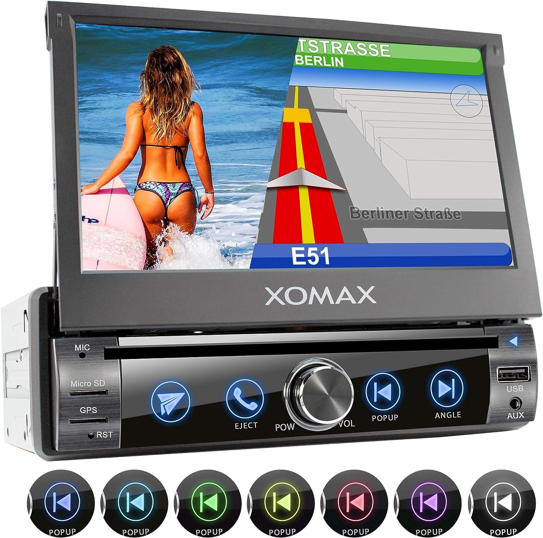 XOMAX XM-DN763 Radio de Coche con Navegador GPS I Mapas de Europa I Bluetooth Manos Libres I 7