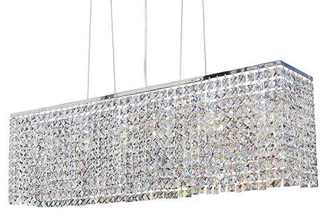 rectangular chrome crystal chandelier lighting pendant amazon com