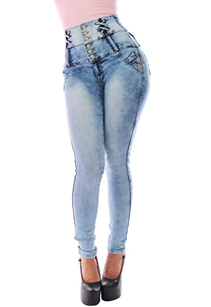 FARINA® 1622 Pantalon vaquero de mujer, Push up/Levanta cola, pantalones elasticos colombian,color azul claro,talla 34-48/XS-3XL