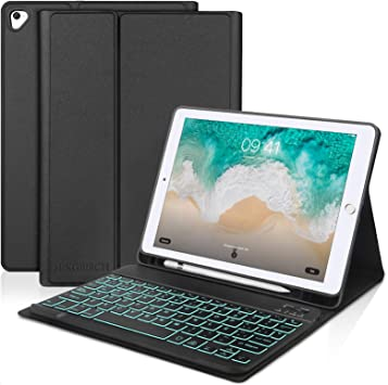 SENGBIRCH Teclado para iPad 2018,Funda Teclado Español para iPad Air 2/iPad Air/iPad 2018(6th Gen)/iPad 2017/iPad Pro 9.7 con Teclado Bluetooth ...