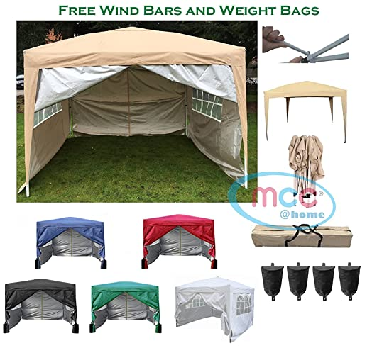 Mcc Premier 3x3m Waterproof Pop Up Gazebo Marquee Canopy BlueBlackGreen