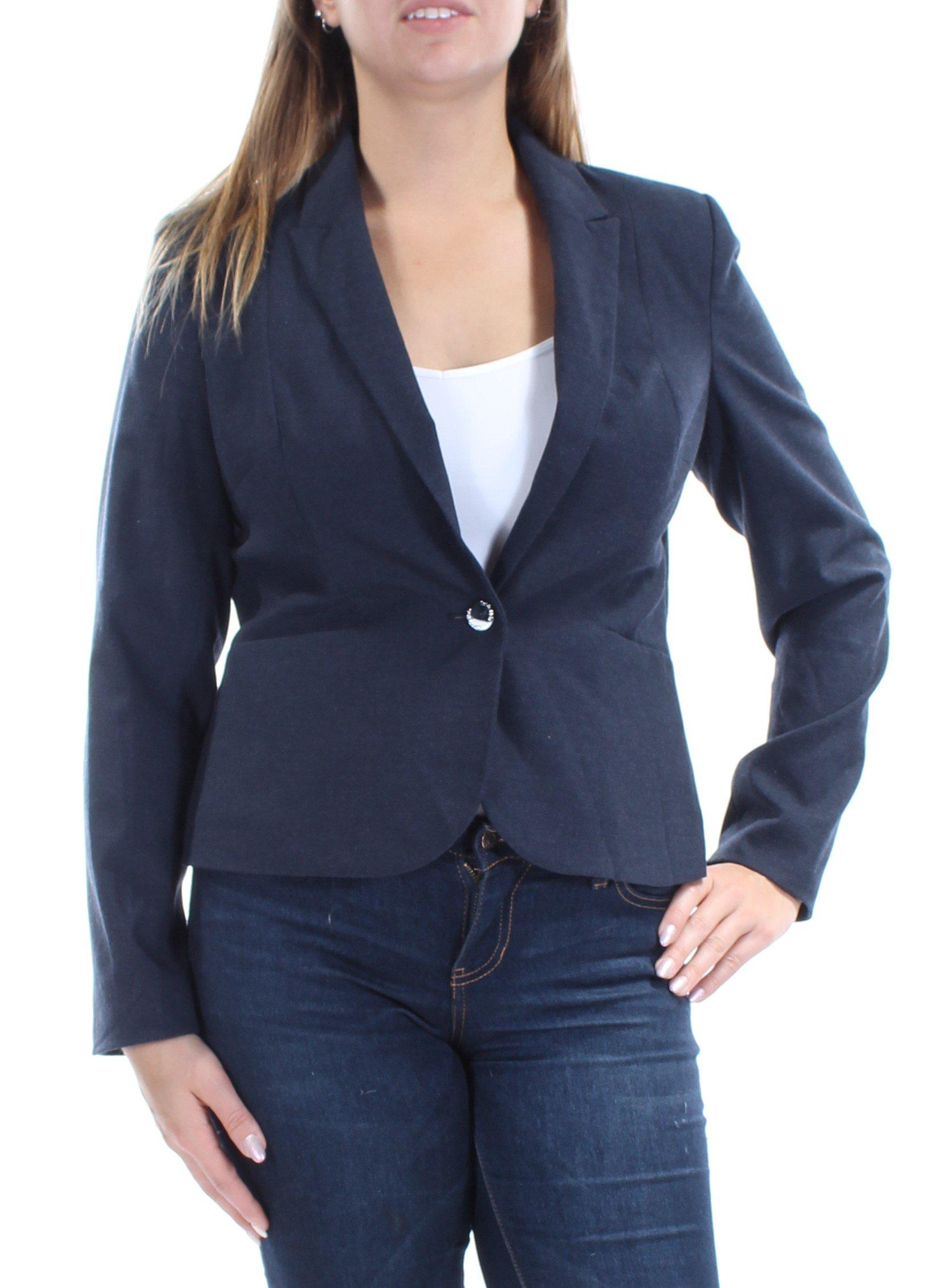 Calvin Klein Womens Petites Woven Stretch One-Button Blazer Navy 12P