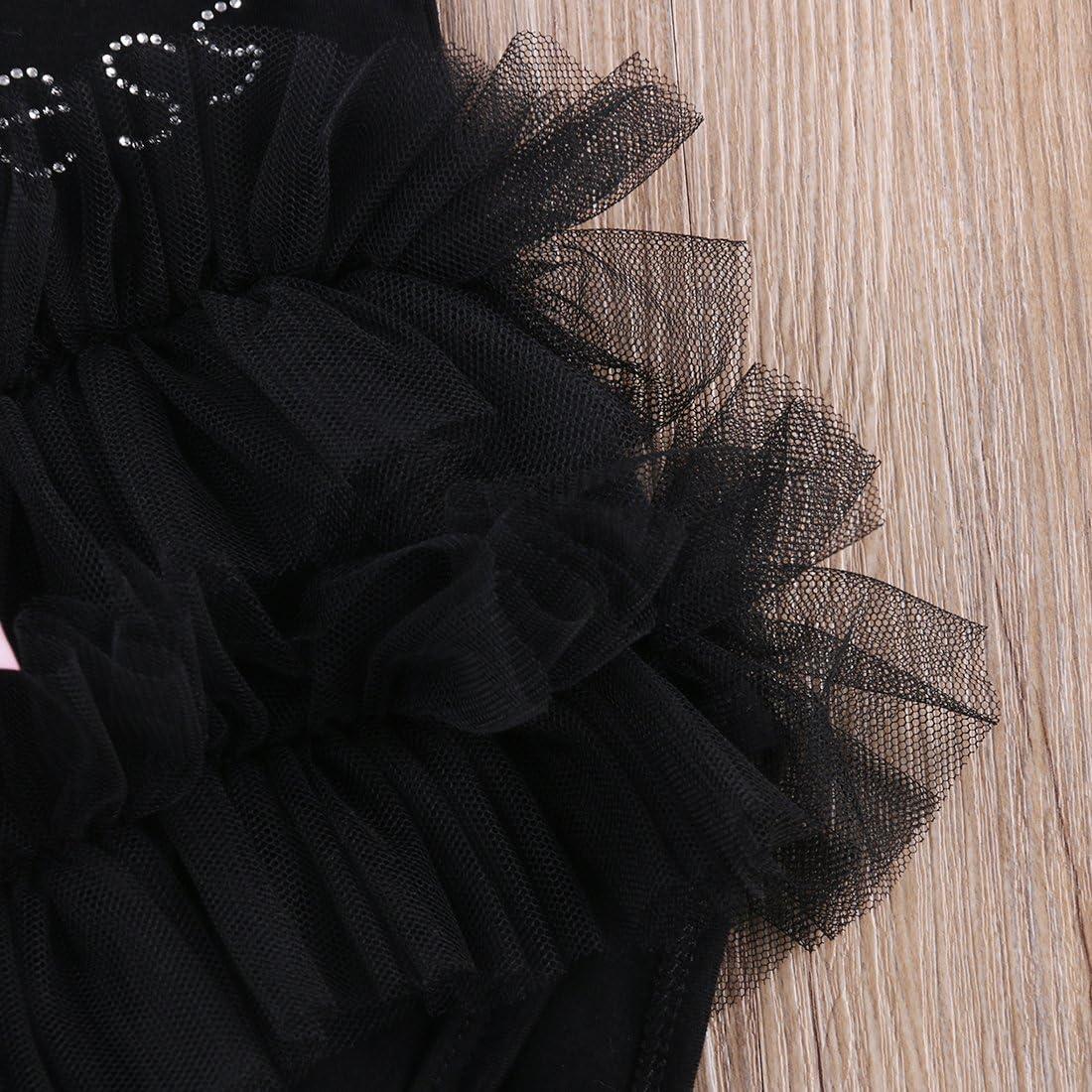 Carolilly Pagliaccetto Neonata in Tulle Body Bambina in Pizzo Senza Manica Tutina Neonata Principessa Nero