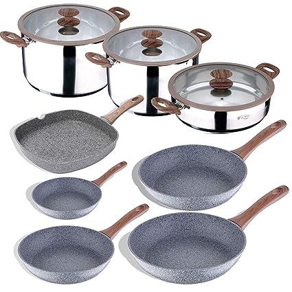 San Ignacio Bateria de Cocina Profesional 11 Piezas colección Granito, Ø24, Ø26 y Ø28, sartén Grill de 28x28 cms, y ollas con Tapa: Ø28x7 y Ø20 ...