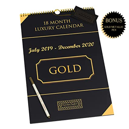 Pride Month 2020 Calendar Amazon.: 2019 2020 Wall Calendar   LUXURY   Black/Gold  18