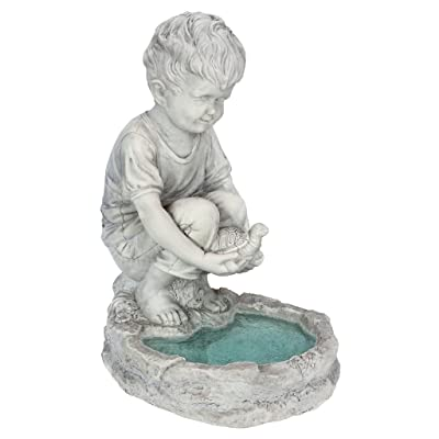 Design Toscano SH38100313 Tommy at The Turtle Pond Little Boy Statue, Full Color : Garden & Outdoor