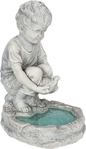 Design Toscano SH38100313 Tommy at The Turtle Pond Little Boy Statue