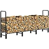 femor Log Rack, 8 Feet Outdoor Firewood Rack, Heavy Duty Rack Steel Log Storage Log Holder, Wood Stacker, Rack Holder…