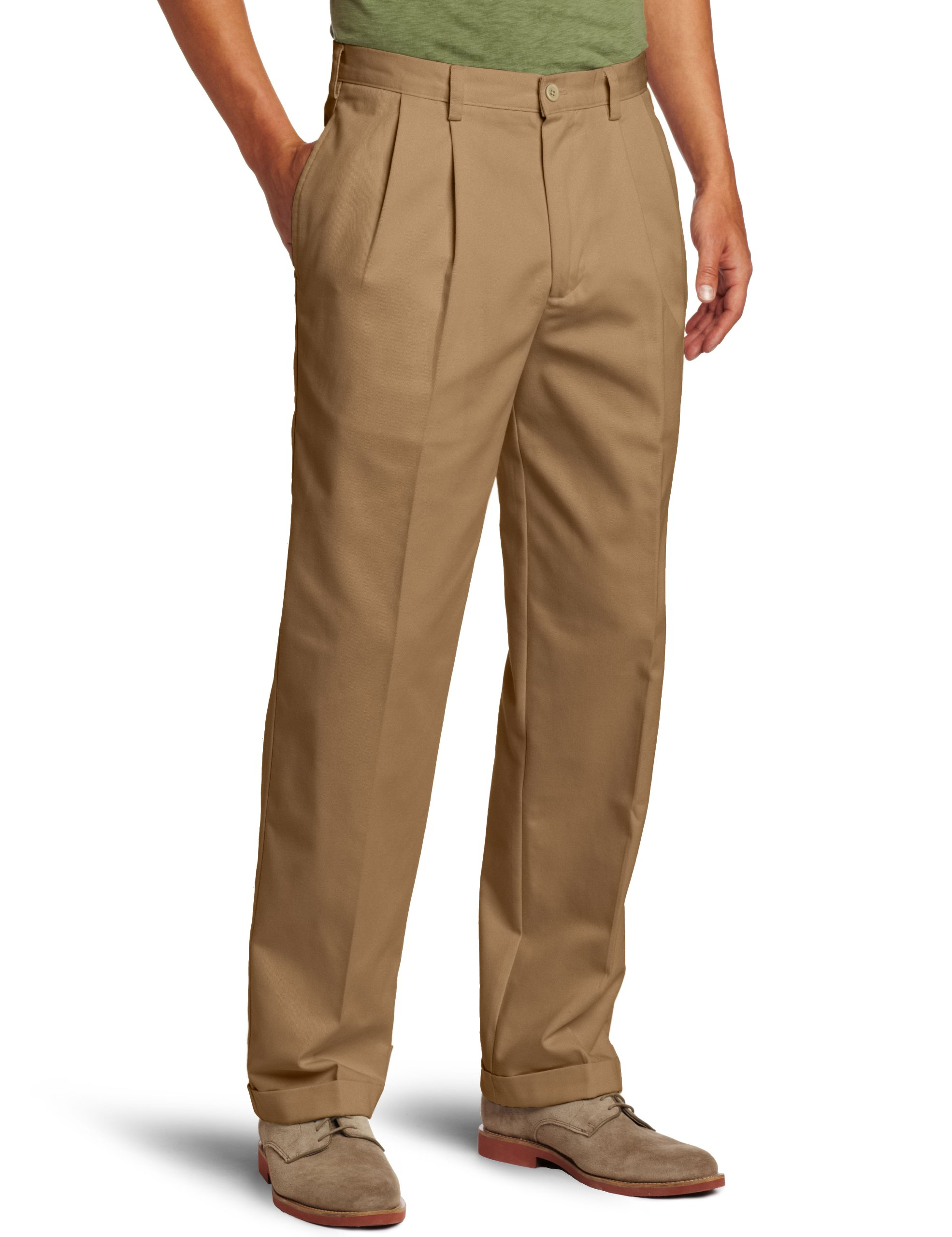 IZOD Men's American Chino Pleated Pant, English Khaki, 35W x 32L