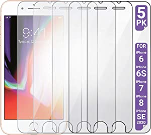 Aduro Screen Protector for Apple iPhone SE2/8/7/6/6s 4.7-inch (NOT Plus), Shatterguardz Tempered Glass Shatter Proof Film, 5 Pack