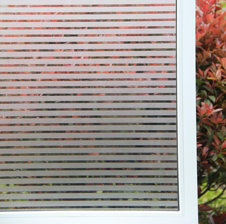 Concus-T Motif Rayure Autocollant Fenêtre Film Statique Adhérence Sans Adhésif Vinyle Premium Décoratif Rayures Givrées Privacy Fenêtre Film 60cmx300cm