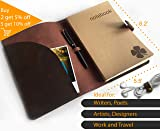 Le Vent Refillable Leather Journal, with 2 Bound A5 Notebooks Lined and Blank 200 Pages, 8.6x6.2 Inch, Brown Vintage Diary Cover for Travelers, Writers and Business