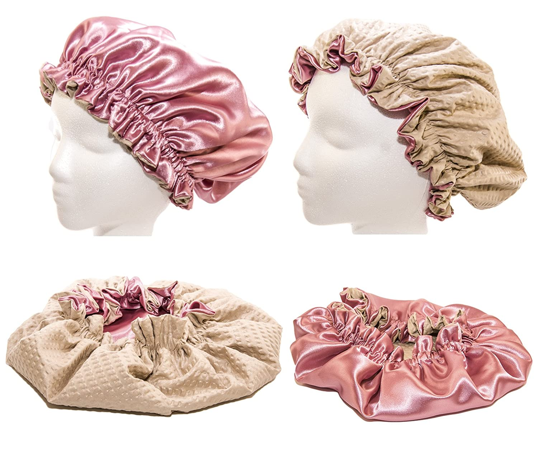 Newborn & Babies 15 Inches-ROSE Shower Cap and Hair Bonnet (2 in 1 Satin & Microfiber Waterproof / Water Repellent Fabric CAP) VANVENE