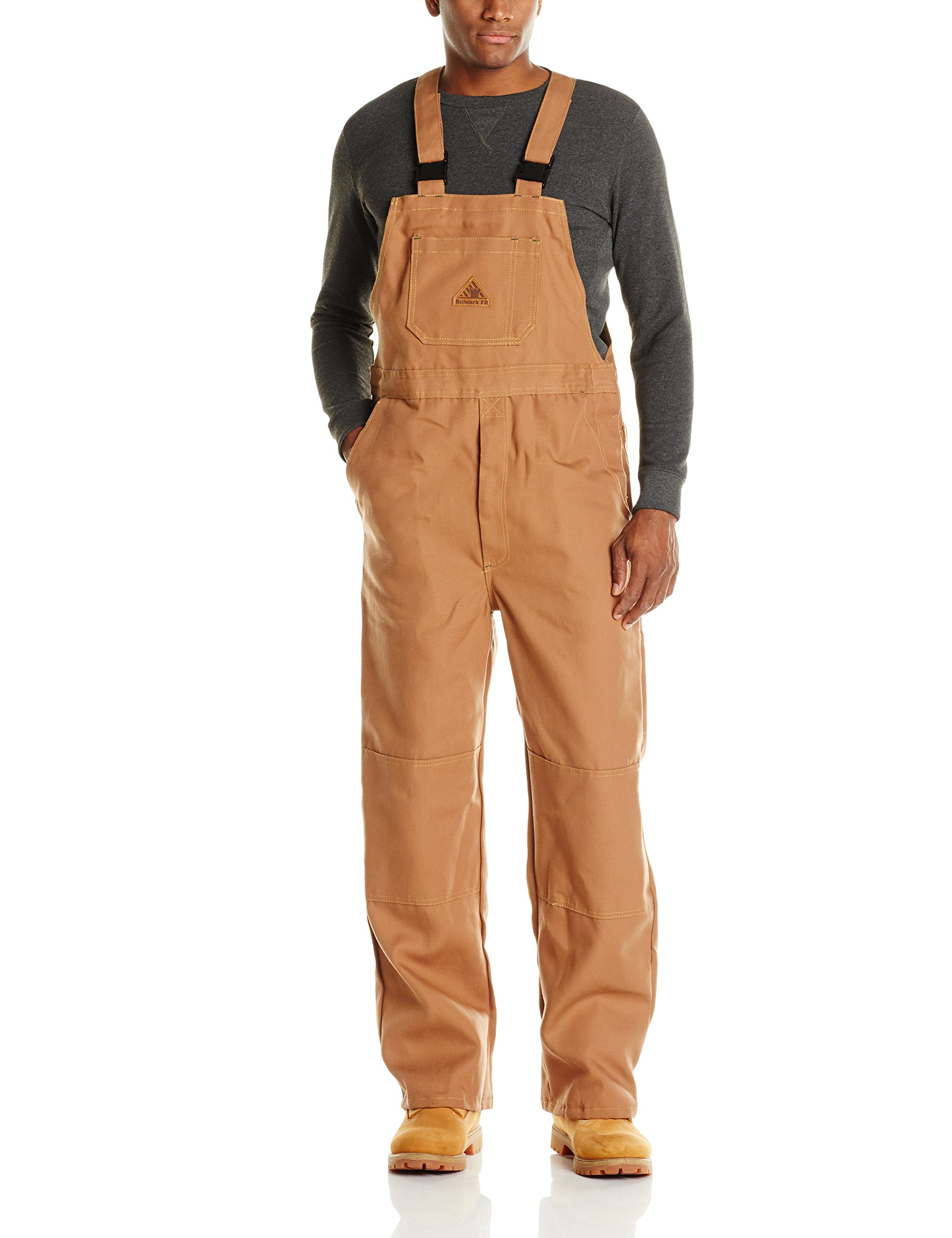Bulwark Flame Resistant 11 oz Cotton/Nylon Excel FR ComforTouch Regular Duck Unlined Bib Overall with Two Large Hip Pockets, Brown Duck, Large