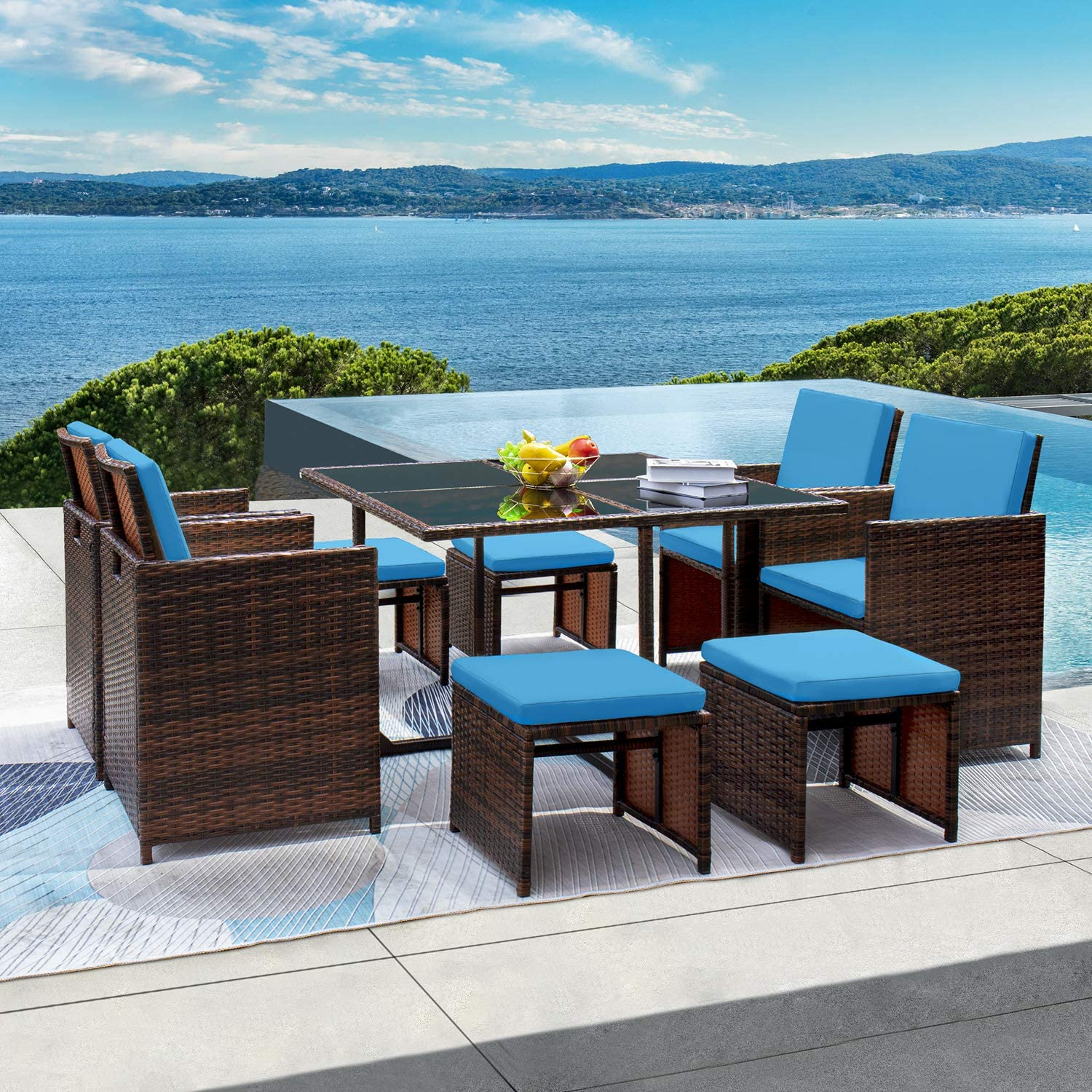 GUNJI 9 Pieces Patio Dining Sets Outdoor Table and Chairs Patio Dining Table Set with Space Saving Rattan Chairs Patio Furniture Sets Cushioned Seating and Back (Blue)