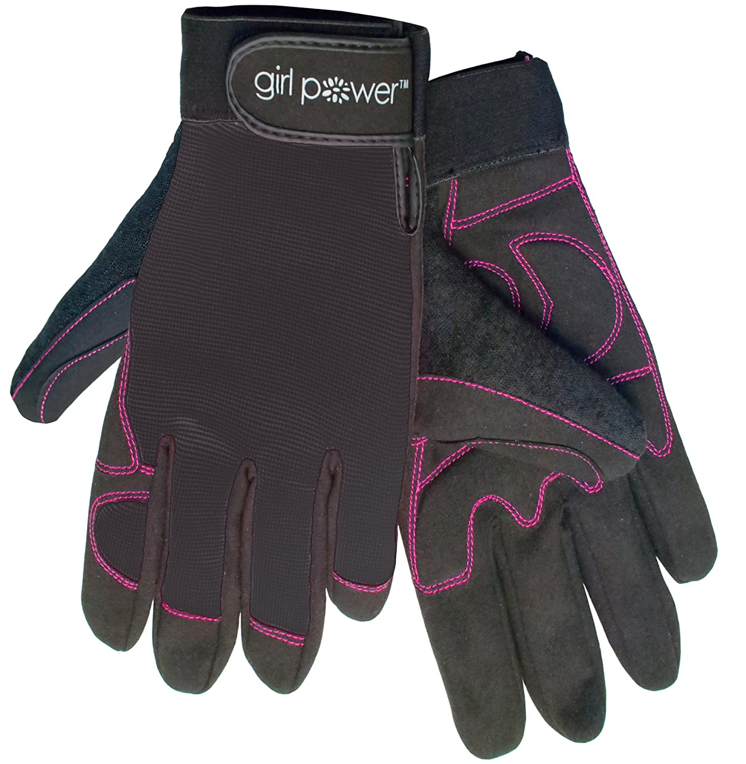 """ERB Safety Products 28862 MGP 100 Girl Power Mechanics Glove, 10"""" Height, 1"""" Wide, 5"""" Length, Nylon/Synthetic Leather, Small, Black"""