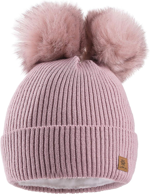 MFAZ Morefaz Ltd Winter Donne Beanie Invernale Berretto Cappello Pom Pom Doppio Hat Sci di Moda
