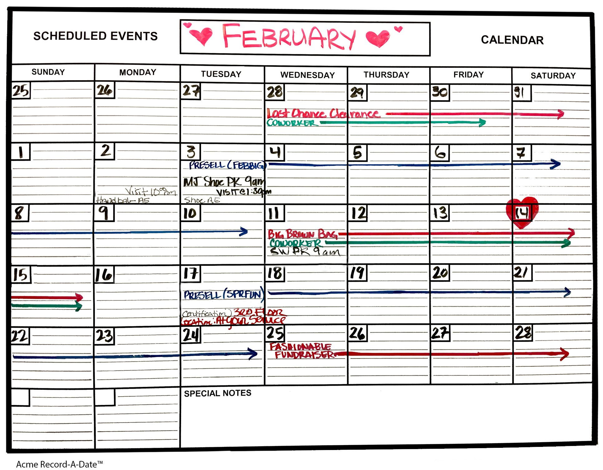 Whiteboard Dry Erase Monthly Calendar 1' x 2' Flexible Durable Sheet Material - Best for Goals Current Events By Acme Record A Date Offer Easy to Install Stick or Tack for Home School Business