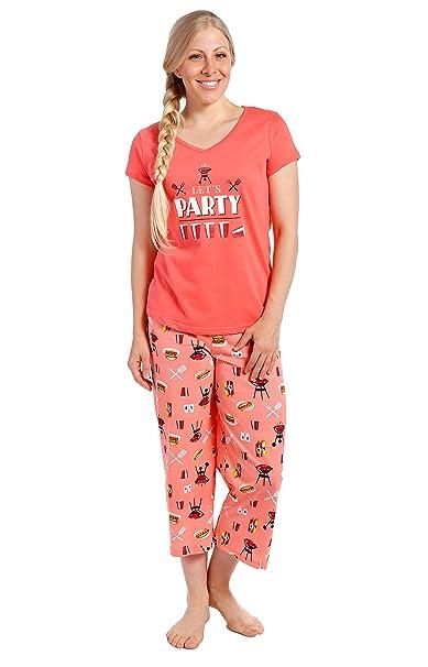 Conjunto Pijama de Algodón para Joven Mujer - Barbacoa - Rosa Salmón - XL