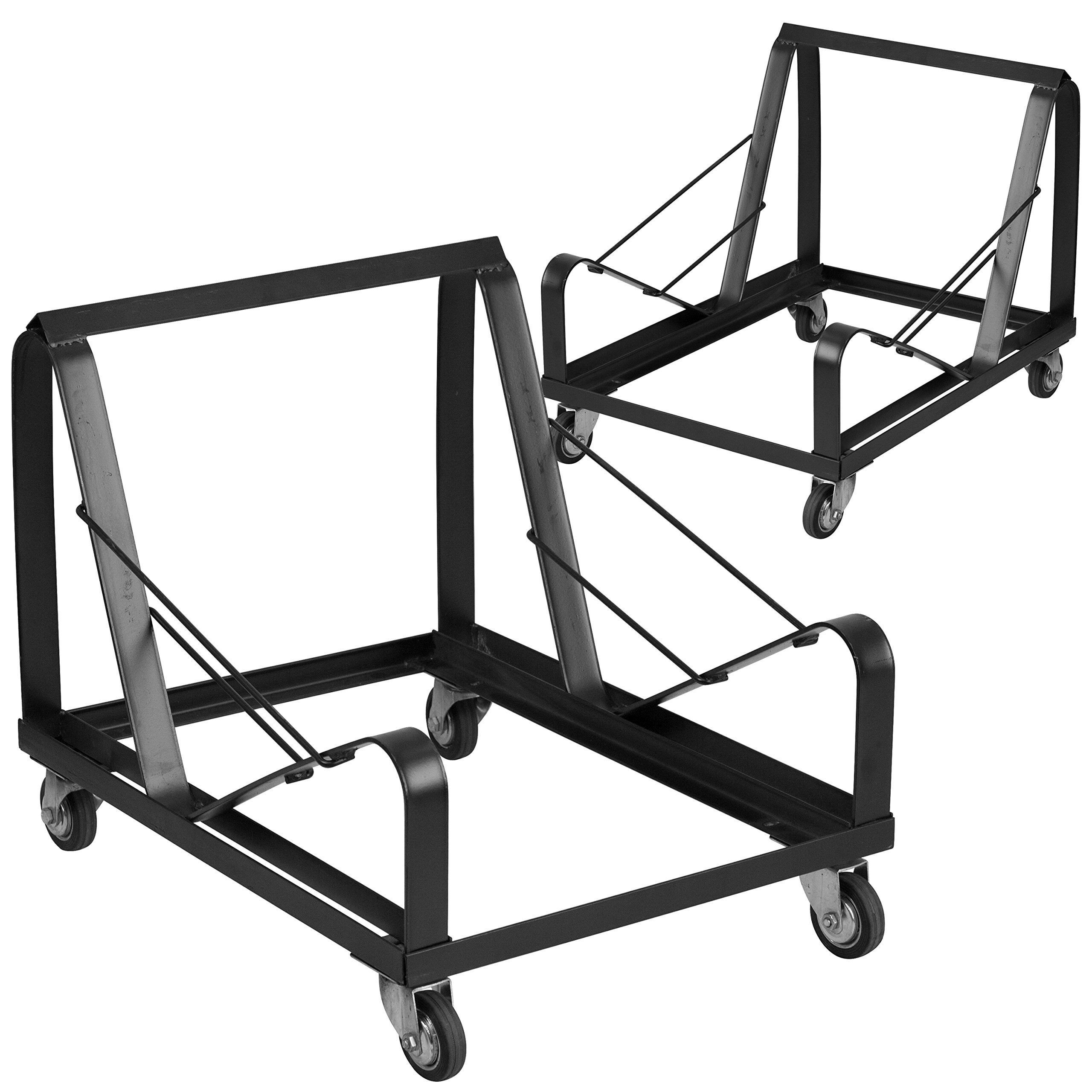 Flash Furniture 2 Pk. HERCULES Series Black Steel Sled Base Stack Chair Dolly