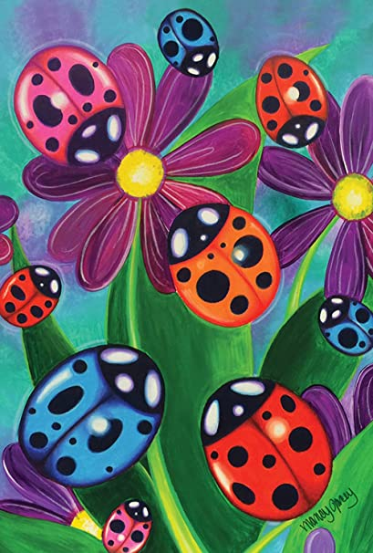 Toland Home Garden Colorful Ladybirds And Ladybugs 12.5 X 18 Inch  Decorative Multicolor Ladybug Garden Flag