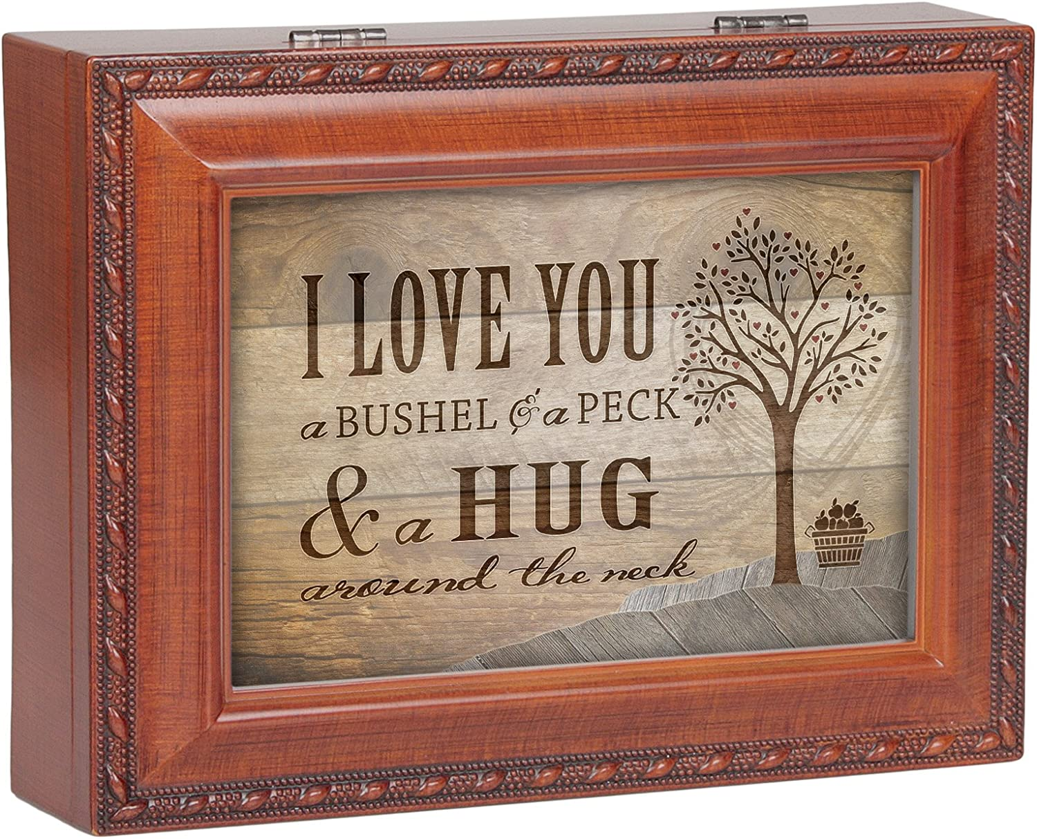 "I Love You A Bushel /& A Peck Wood Finish Jewelry Music Box /""You Are My Sunshine/"""