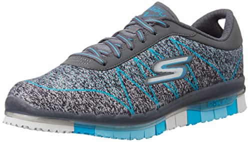 60e35c0804c1 Skechers Women s Go Flex - Ability Charcoal and Turquoise Nordic Walking  Shoes - 3 UK
