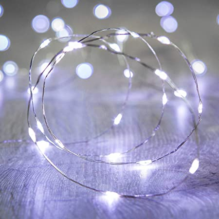 Amazon Com Xinkaite Led String Lights 30 Micro Leds On 9 8feet 3m Fairy String Lights Silver Wire Fairy Lights Battery Operated String Lights For Wedding Party Christmas Table Decorations Cold White Garden