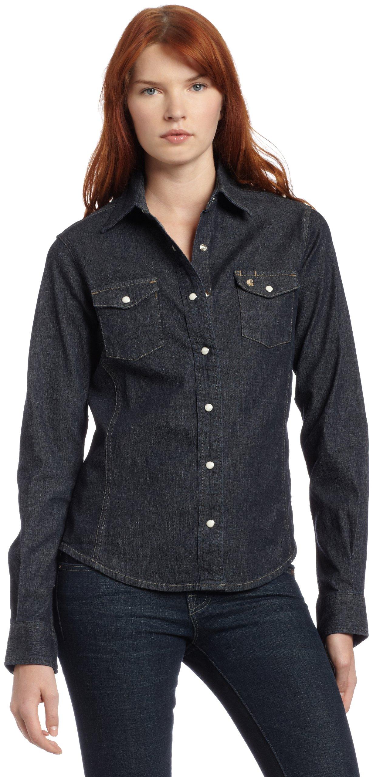 Carhartt Women's Denim Snap Front Shirt,Midnight Indigo (Closeout),0