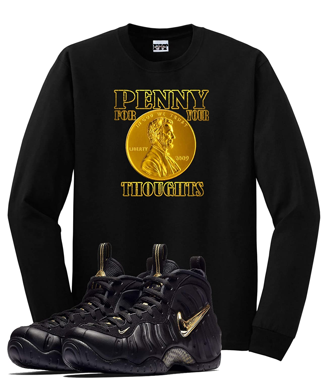 newest 39a21 381d9 We Will Fit Shirt to Match The Nike Air Foamposite Pro Black Metallic Gold    Amazon.com