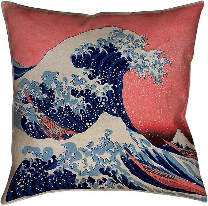 ArtVerse Katsushika Hokusai 14 x 14 Spun Polyester Horse and Waterfall in Gray and Red Pillow